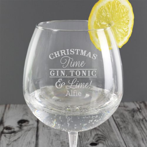 Personalised Christmas Gin & Tonic Balloon Glass